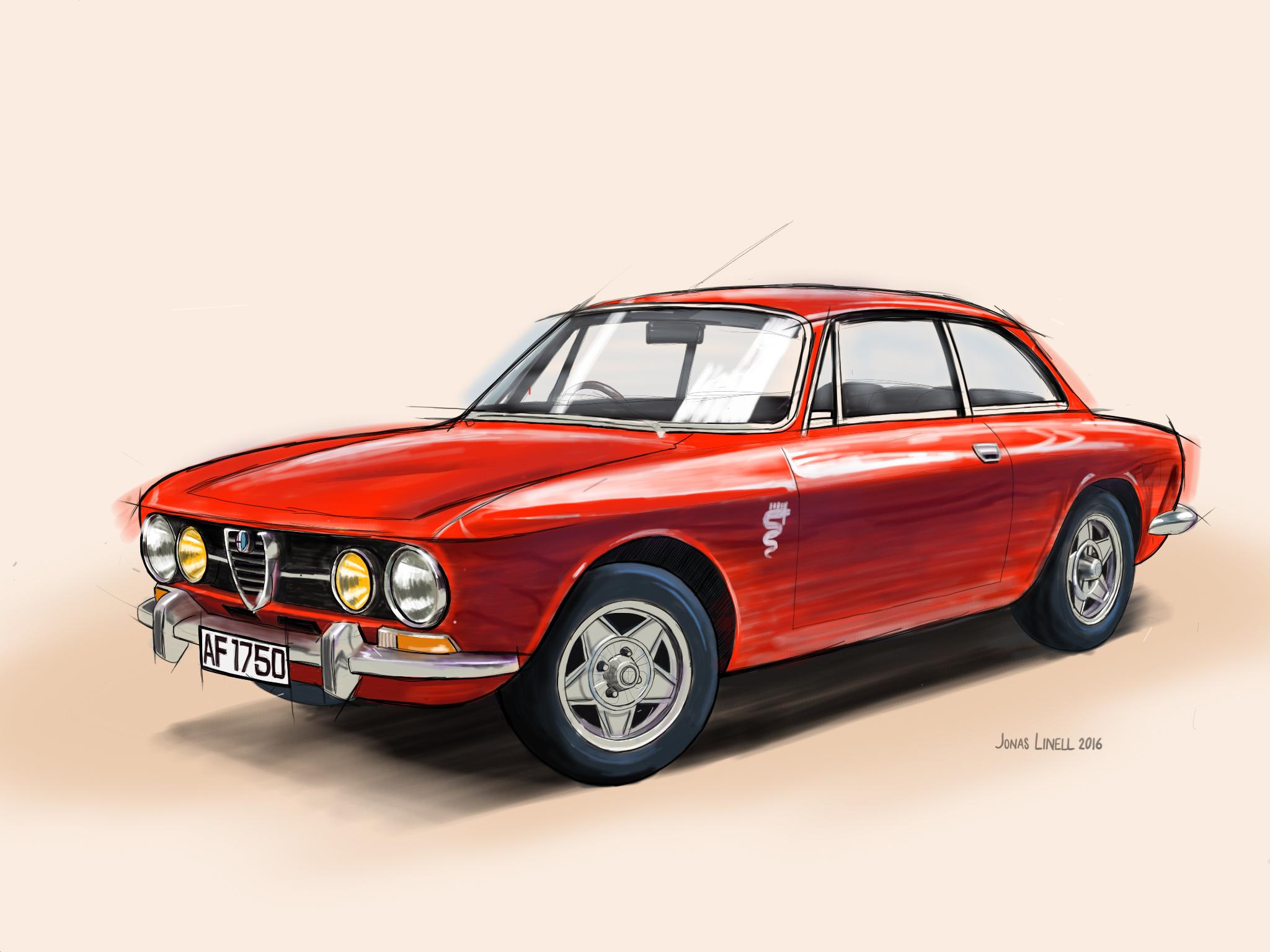 Alfa Romeo GTV 1750 Bertone. Diigtal painting by Jonas Linell 2016