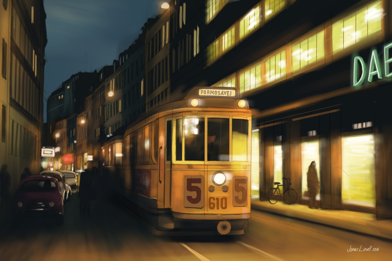 Tram painting.