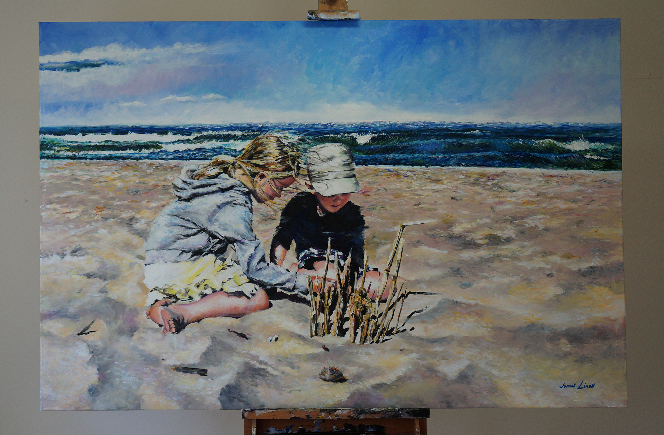 My portrait of the Ørum Children on the beach at Alicante. Commissioned by the parents. Oil on canvas, 150x100 cm.